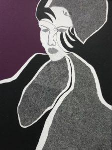 Unbekannte Dame, Acrylfarbe und Lackstift auf Leinwand, 160 cm x 120 cm, 2019